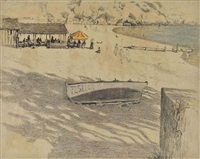 a sunny afternoon at the beach, mallorca (illustrated) and a sketch of an english town with bridge and church (2 works) by cecil charles windsor aldin