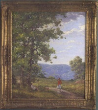 summer landscape with a girl walking along a wooded path and two additional figures under tree by william chadwick
