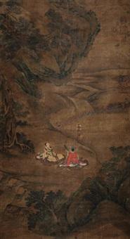 高士山水 立轴 绢本 by wang zhenpeng