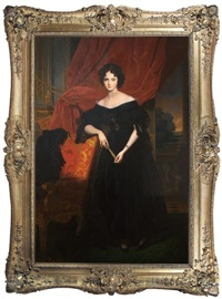 portrait of a woman shown standing, wearing a black satin and lace gown against a red velvet curtain, distant landscape by leon viardot