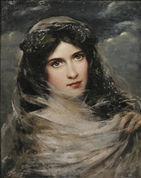 portrait of a dark-haired beauty in a white veil by adolfo felice müller-ury