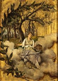 alegoría de la pintura sobre un fondo dorado by mariano millan velasco