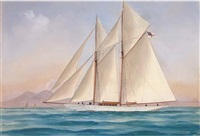 the royal yacht squadron's schooner sylvana in neapolitan waters (+ at sea in a heavy swell; pair) by a. de simone