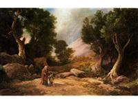 landschaft mit der biblischen darstellung des ganges von abraham und seinem sohn isaac zur opferstätte auf dem berg moria by johann wilhelm schirmer