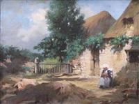 bretonne devant la porte by emile-louis foubert