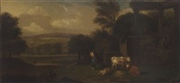 a shepherdess with cattle and sheep in a classical landscape by george lambert