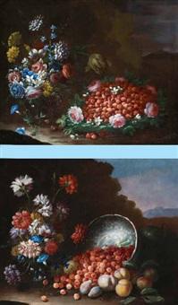 natura morta di fiori e frutta (2 works) by francesco della questa