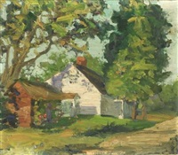landscape view with cottage (+ another; 2 works, 1st dbl-sided) by george henry leonard