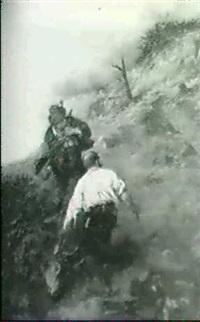 zwei wilderer mit erlegtem hirsch              am berghang by max correggio