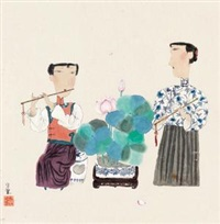 玉人弄笛图 (ladies playing bamboo flute) by ma xiaojuan