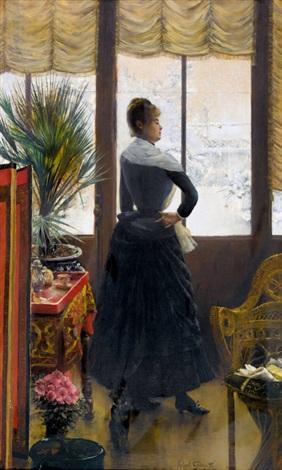 reine dans l′atelier de son frère by norbert goeneutte