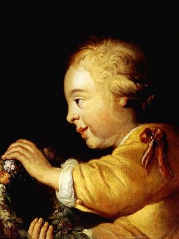 portrait eines kindes mit blumenkranz by jürgen ovens