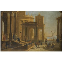 a capriccio view of a palace beside a harbour with figures in the foreground by alessandro salucci