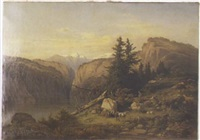 mountainous landscape depicting a family picnicking by a stream by henri baumgartner