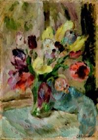 tulpenstrauß in vase by alfred lehmann