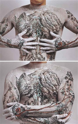 chinese landscape: tattoo no. 1; chinese landscape: tattoo no. 9 (2 works) by huang yan