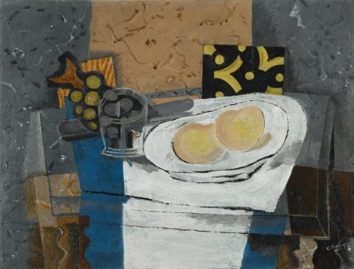 verre fruits et couteau by georges braque