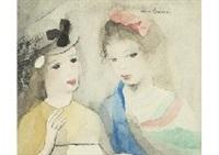 deux jeunes filles, en jaune au ruban noir, en bleu au ruban rose by marie laurencin