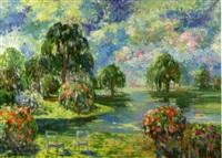 arbres et fleurs au bord du lac by olga andrianova-allel