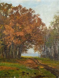 herbstliche landschaft by richard benno adam