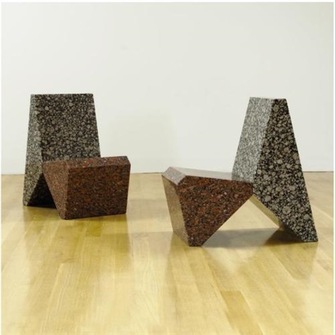 two granite chairs pair each in 2 parts by scott burton