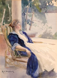 elegant woman resting by a lake by rosina emmet sherwood