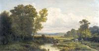 landschaft mit kühen und hirtin by nicolas renie