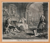 marriage à la mode, plate 1-5 (5 works) by william hogarth