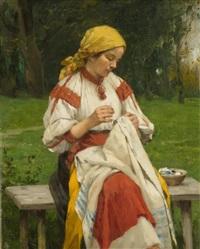 femme brodant by cornelia paczka wagner
