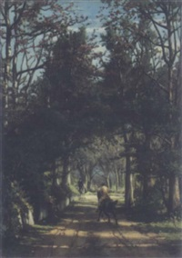 cantering through woodland by eugene jacques hubert wolters
