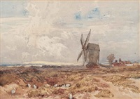 rabbits near the mill at kenilworth by david cox the elder