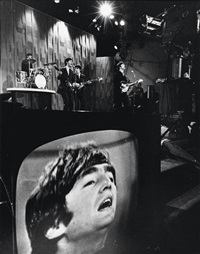 the beatles (with a close up of john lennon on a monitor) by eddie adams