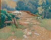 sommerstimmung, schafe auf einer holzbrücke by rudolf weber