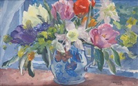 spring flowers (+ still life with eggs; 2 works) by josephine haswell miller