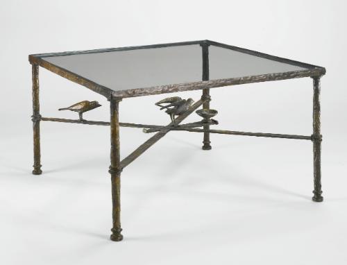 table à deux oiseaux et coupelle by diego giacometti