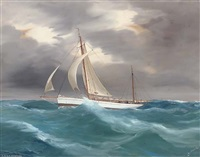 the r.d.y.c.s yawl ventura in a heavy swell by a. de simone