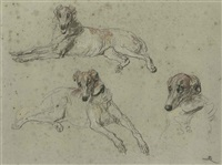 greyhounds (study) by briton riviere