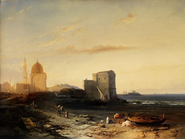 küste an einer orientalischen stadt mit moscheekuppel und minarett by jacob jacobs