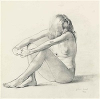 seated nude by john stanton ward