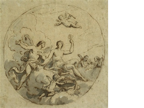 zephyrus and flora design for a circular ceiling by sir james thornhill