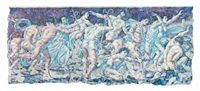 classical figures in a landscape (triptych) by ricardo cinalli