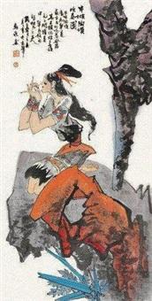 半坡陶埙吹奏图 (lady) by ma xinle