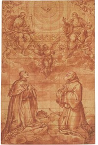 st. louis of france and st. anthony abbot in adoration of the trinity by avanzino nucci