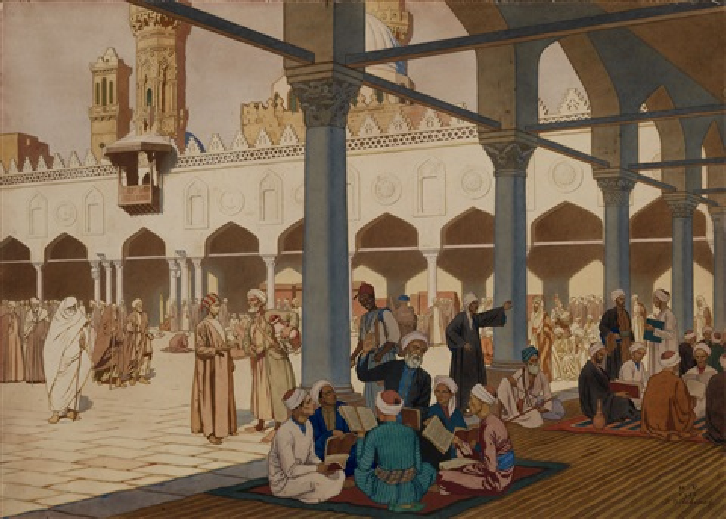 courtyard of the al-azhar mosque and university, cairo by ivan yakovlevich bilibin
