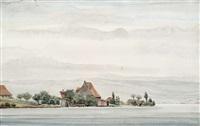 landschaft mit häusern am see by franz lenk