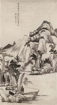 landscape in yuan style by hua shifang