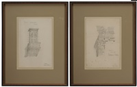 two architectural sketches: sketch from the pantheon rome and palazzo camcelleria/rome by charles rennie mackintosh