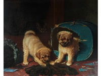 a game of hide and seek (two dogs watched by a cat) by horatio henry couldery