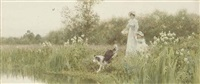 a mother and child with their sheepdog on the banks of a river by thomas james lloyd