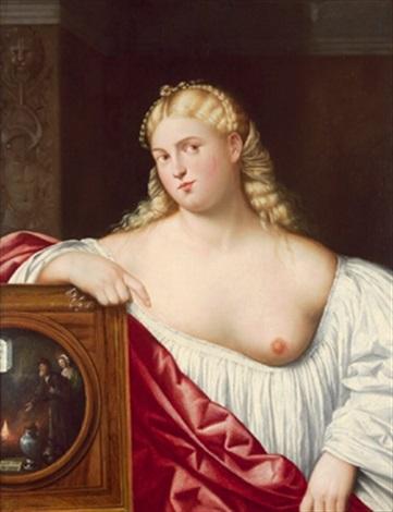 eine kurtisane einen spiegel haltend una cortigiana con specchio by bernardino licinio